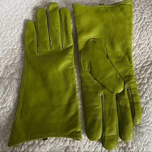 Chartreuse Leather Gloves 💞